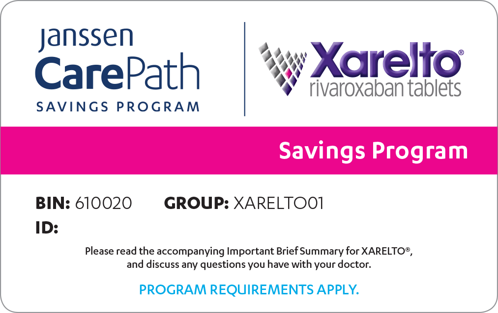 Janssen CarePath Savings Program card for XARELTO® (rivaroxaban)
